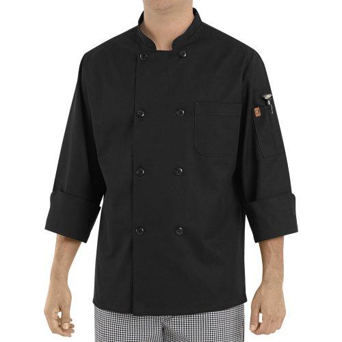 Chef Designs Eight Pearl Button Black Chef Coat