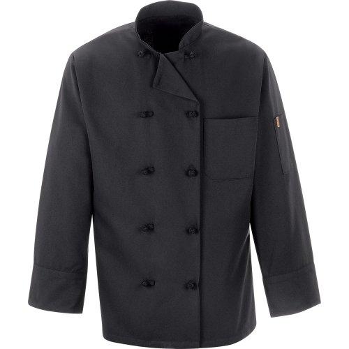 Chef Designs Spun Poly Black Ten Knot Button Chef Coat