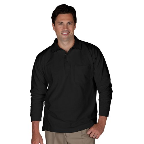 Blended Pique Long Sleeve Polo With Pocket