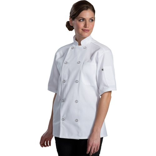 10 Button Short Sleeve Chef Coat with Mesh