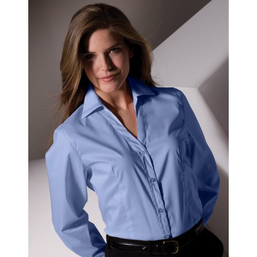 Ladies' Tailored V-Neck Stretch Broadcloth Blouse