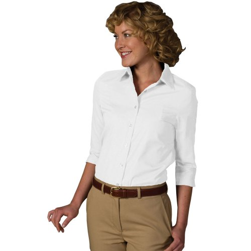 Ladies' Easy Care Poplin ¾-Sleeve Shirt with Soil Release