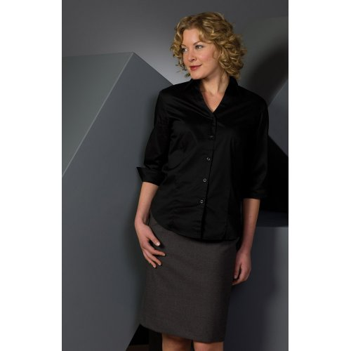 Ladies' Tailored V-Neck Stretch Blouse-3/4 Sleeve