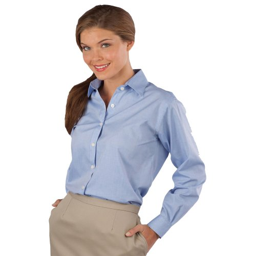 Ladies' Pinpoint Oxford Long-Sleeve Shirt with Button-Down Collar