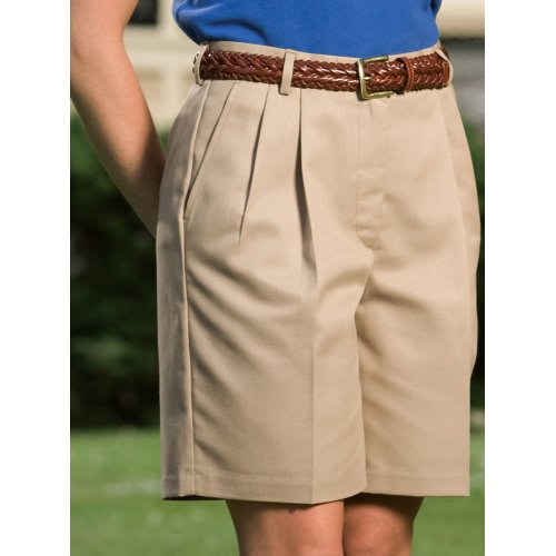 Ladies' Business Casual Pleated Chino Shorts