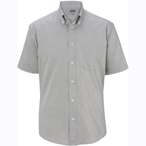 Men's Pinpoint Oxford Short-Sleeve Shirt with Button-Down Collar