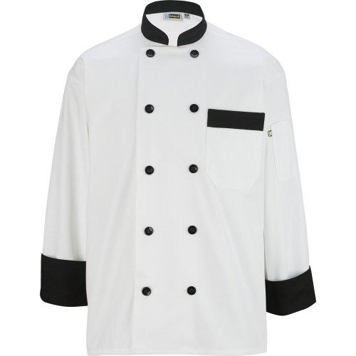 10 Button Chef Coat with Black Trim