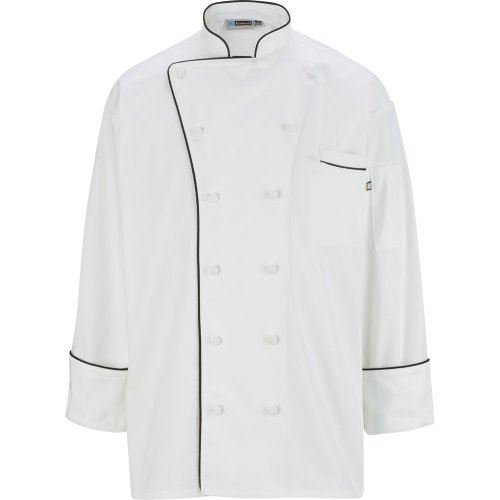 12 Cloth Button Classic Chef Coat with Trim