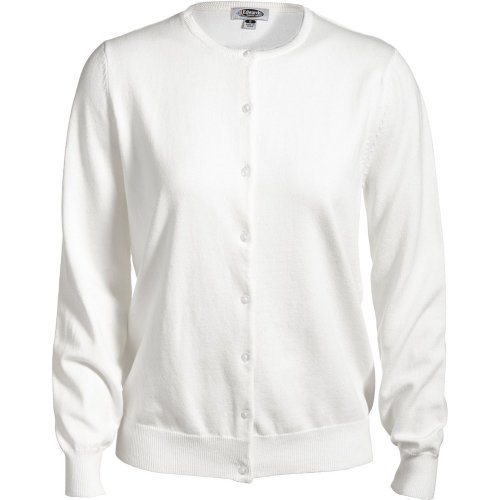 Ladies' Jewel Neck Cotton Cardigan Sweater