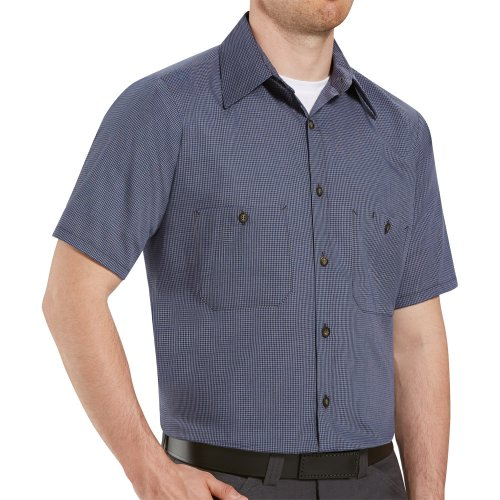Micro-Check Short Sleeve Work Shirt