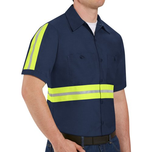 Enhanced Visibility Industrial Short Sleeve Work Shirt