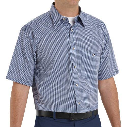 Mini-Plaid Short Sleeve Work Shirt