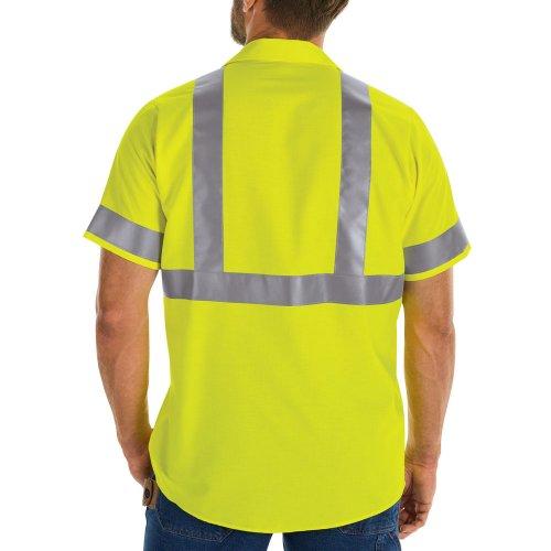 Red Kap Hi-Visibility Ripstop Short Sleeve Work Shirt Type R, Class 2