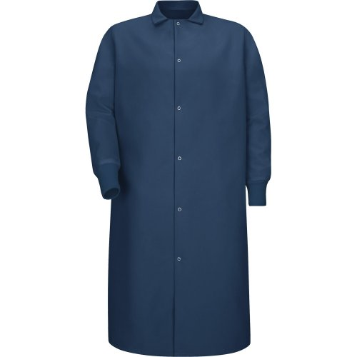 Gripper-Front Spun Polyester Pocketless Butcher Coat with Knit Cuffs