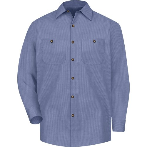 Men's Geometric Micro-Check Long Sleeve Work Shirt
