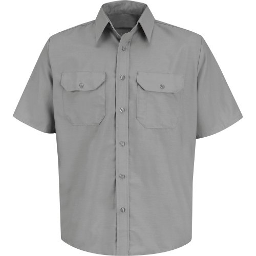 Men's Solid Short Sleeve Dress Uniform Shirt