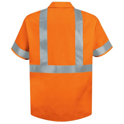 Red Kap Hi-Visibility 100% Polyester Short Sleeve Work Shirt Type R, Class 2