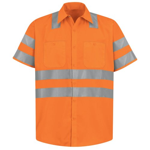 Red Kap Hi-Visibility 100% Polyester Short Sleeve Work Shirt Type R, Class 3