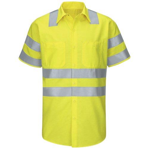 Red Kap Hi-Visibility Ripstop Short Sleeve Work Shirt Type R, Class 3