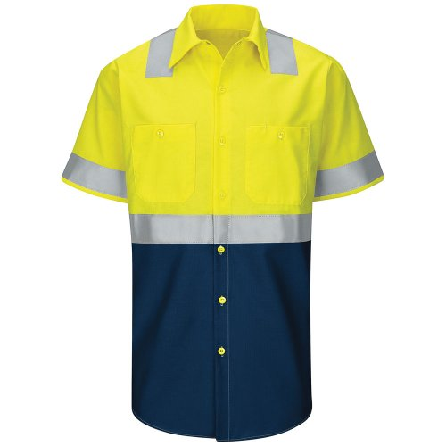 Hi-Visibility Ripstop Color Block Short Sleeve Work Shirt Type R, Class 2