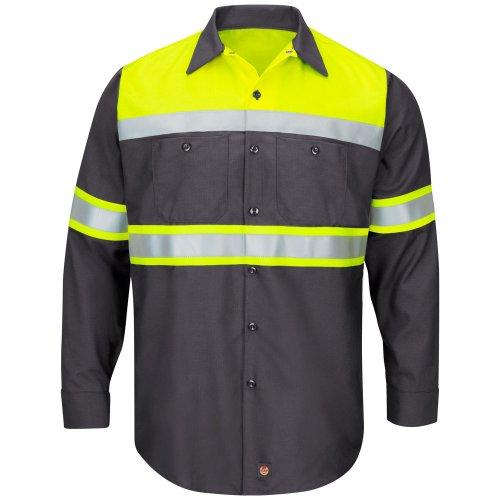 Hi-Visibility Ripstop Color Block Long Sleeve Work Shirt Type O, Class 1