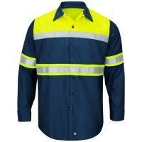 Hi-Visibility Ripstop Color Block Long Sleeve Work Shirt Type O, Class 1